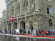 Delivery by Visarte society of petition at Bern city hall opposing reduction of cultural investment.