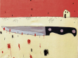 Jakub Hošek:  Knife play 1, 2001-02, Acrylic on canvas, 70x100cm