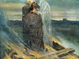 Der unfreiwillige Märtyer Jan Hus wird bei seiner Hinrichtung von Jesus Christus aufgesogen. Allegorische Illustration eines Ereignisses, das die Länder der böhmischen Krone in ihre längste chaotische Epoche stürzte. Das undatierte Gemäl