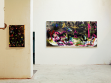 Vlevo: Father, 2008, akryl, koláž, pantofle, deska, 88 x 62 cm Vpravo: Do you love me? 2007, akryl na plátně, 155 x 310 cm Foto: Tomáš Souček