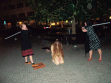 Mirja Koponen, Petra Pennington and Sara Sinclair performing in Prague streets, Sept 2009. Photo by Darren Farquhar