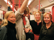 Petra Pennington, Darren Farquhar, Mirja Koponen, Sara Sinclair in the Prague subway. September 26, 2009. Photo by Alena Boika