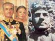 Mohammad Reza Pahlavi, íránský šáh s císařovnou Farah (vlevo), socha šáha stržena v roce 1979 (vpravo).