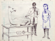 "From ""Animals at the doc"" serie, 2009, pencil and ballpen drawing on paper, 25 x 30,5 cm"